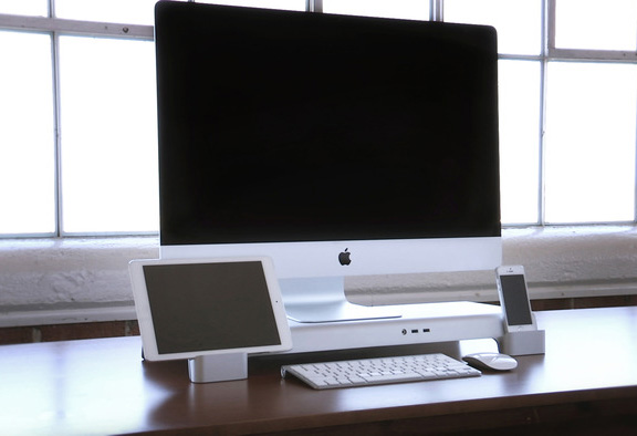 Ios news iphone ipad uniti stand stand for stylish imac ipad and iphone from iforte video - Desk for inch imac ...