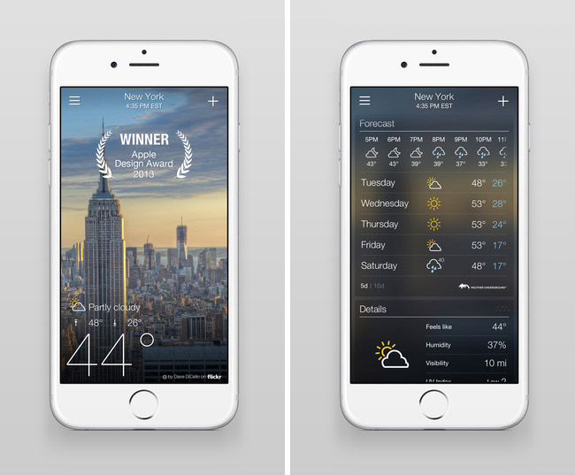 Ios news iphone ipad best weather app for ios received for Application iphone temperature interieur